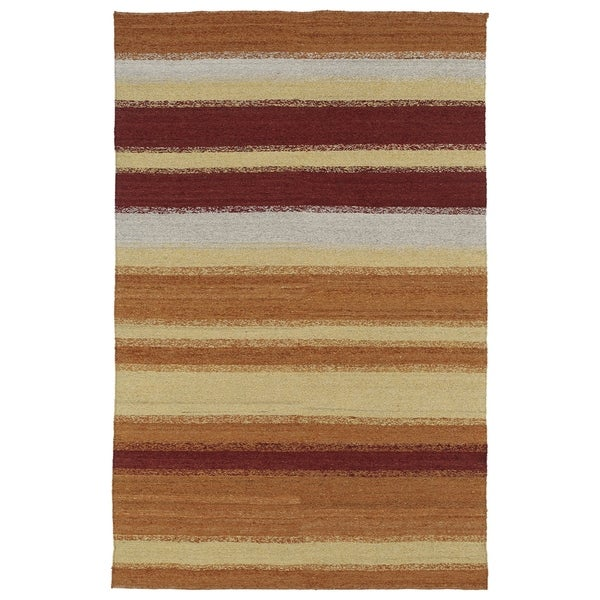 "Mallard Creek Cayenne Conasauga Stripes Wool Rug (5' x 7'9"")"