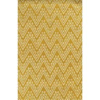 Yellow/ White Bradberry Downs Collection 100-percent Wool Accent Rug - 3' x 5'