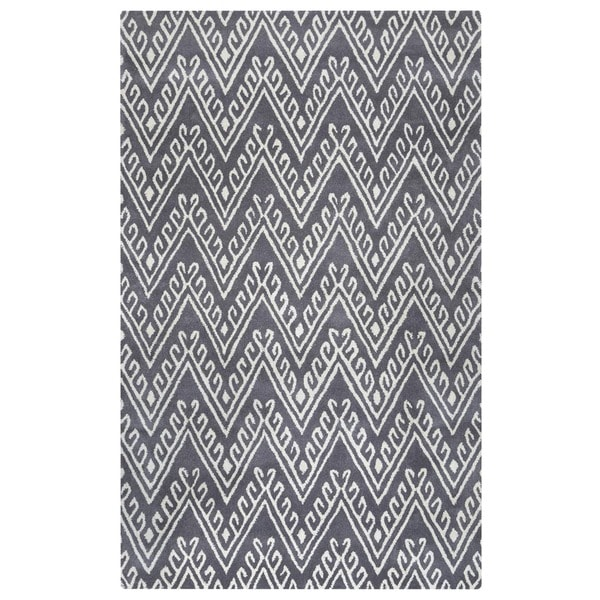 Grey/ White Bradberry Downs Collection 100-percent Wool Accent Rug (5' x 8')