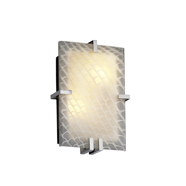 Justice Design Group Fusion Clips 2-light Polished Chrome ADA Wall Sconce, Weave Shade