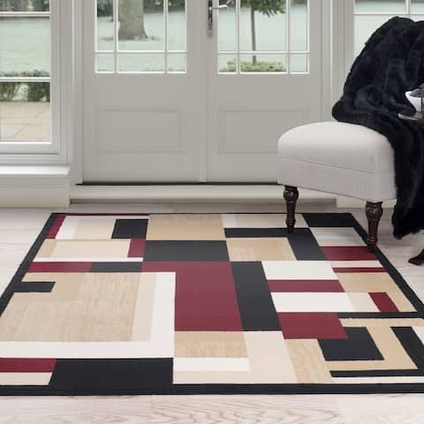 "Windsor Home Block Style Area Rug - 5' x 7'7"""