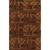 Brown/ Rust/ Dark Gold/ Black Bradberry Downs Collection 100-percent Wool Accent Rug (5' x 8')