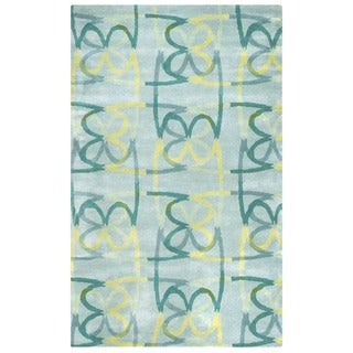 Blue/ Aqua/ Teal/ Light Green/ Yellow Bradberry Downs Collection 100-percent Wool Accent Rug (8' x 10') - 8' x 10'