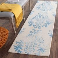 """Safavieh Handmade Dip Dye Watercolor Vintage Beige/ Blue Wool Rug - 2'3"""" x 8' Runner"""