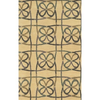 Natural/ Grey/ Green/ Plum/ Dark Tan Bradberry Downs Collection 100-percent Wool Accent Rug (8' x 10') - 8' x 10'