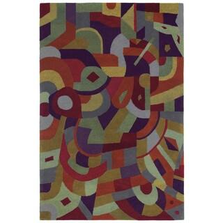 "Moods Tangerine Holi Abstract Wool Rug (5' x 7'9"")"