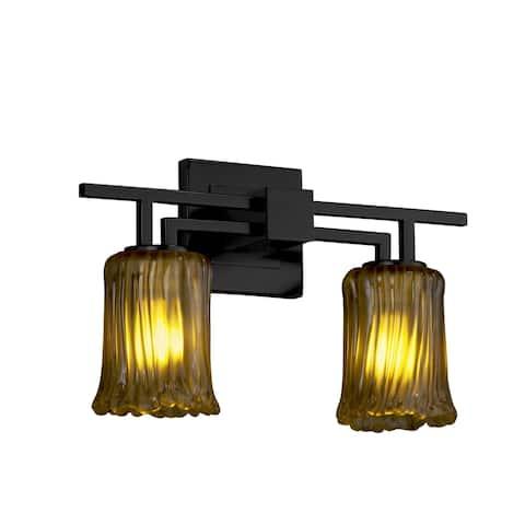 Justice Design Veneto Luce Aero 2-light Matte Black Bath Bar, Amber Cylinder - Rippled Rim Shade