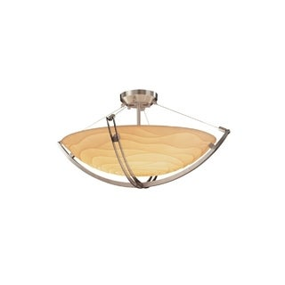 Justice Design Group Porcelina Crossbar 3-light Brushed Nickel Round Bowl Semi-flush, Waves Shade