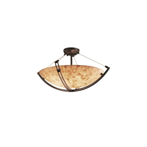 Justice Design Group Alabaster Rocks Crossbar 3-light Dark Bronze Round Bowl Semi-flush