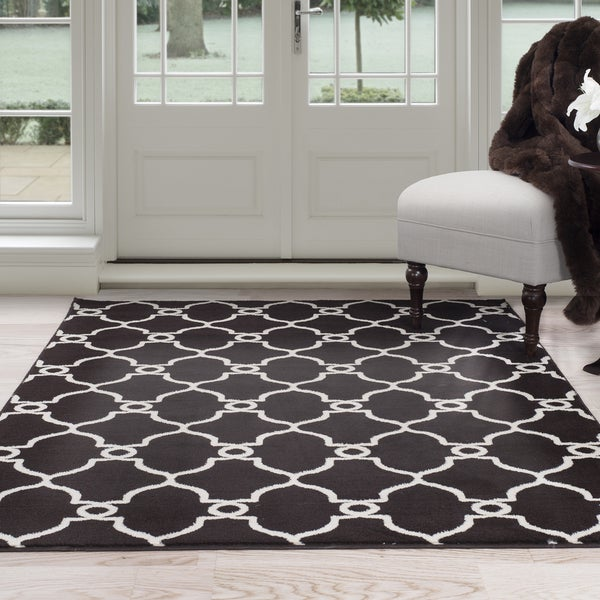 Shop Windsor Home White And Brown Lattice Area Rug 5 X