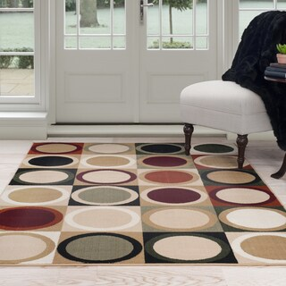 Windsor Home Circles in Squares Area Rug (5' x 7'7)