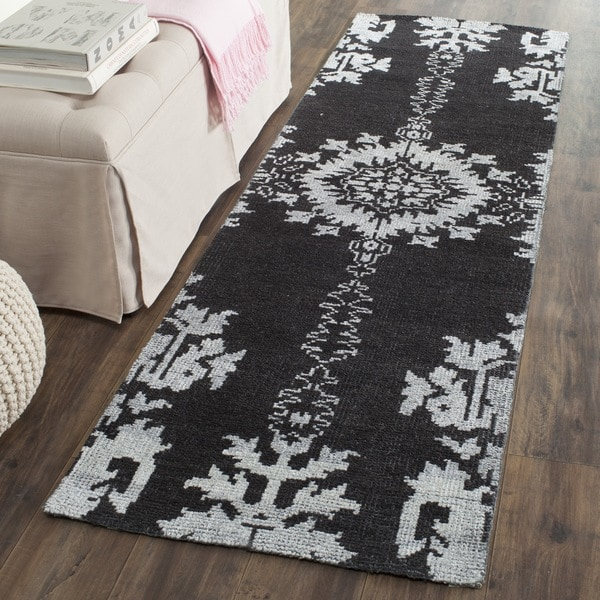 Safavieh Hand-knotted Stone Wash Charcoal Wool Rug (2'6 x 8')