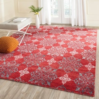 Safavieh Hand-knotted Stone Wash Red/ Ivory Wool Rug (8' x 10')