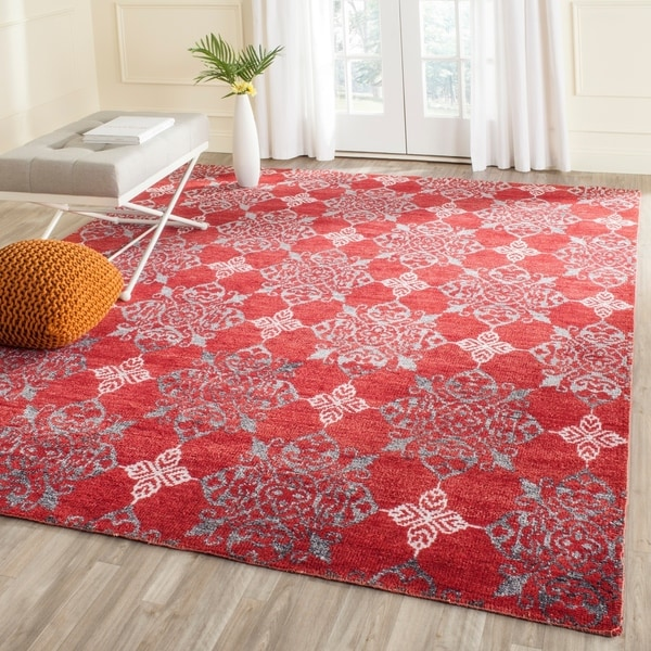 Safavieh Hand-knotted Stone Wash Red/ Ivory Wool Rug - 8' x 10'