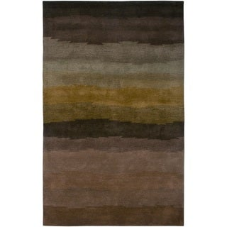 Brown/ Brown/ Dark Tan/ Taupe/ Chocolate Rizzy Home Colours Collection Hand-Tufted New Zealand Wool Accent Rug (2' x 3')