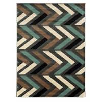 Linon Roma Herringbone Grey/Turquoise Rug (8' x 10')