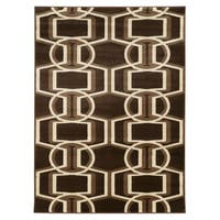 Linon Roma Bridle Chocolate/Beige Rug - 8' x 10'
