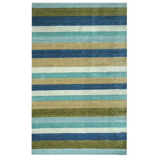 Blue/ Red/ Purple/ Brown Rizzy Home Platoon Collection New Zealand Wool Accent Rug (2' x 3')