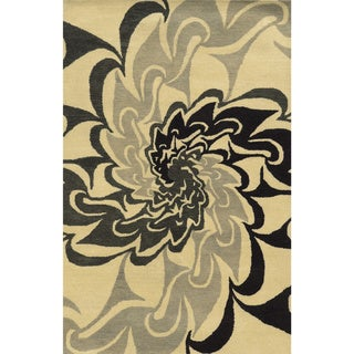 Black/ Beige/ Grey Bradberry Downs Collection 100-percent Wool Accent Rug (2' x 3')
