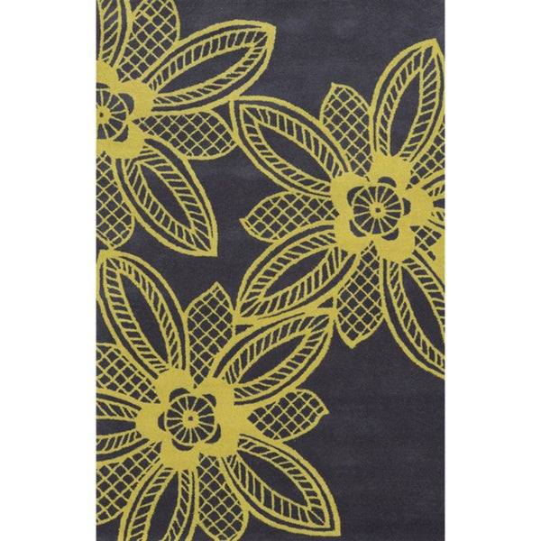 Grey/ Yellow Bradberry Downs Collection 100-percent Wool Accent Rug - 5' x 8'