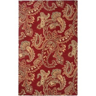 Rizzy Home Red Ashlyn Collection New Zealand Wool Blend Hand-Tufted Accent Rug (2' x 3')