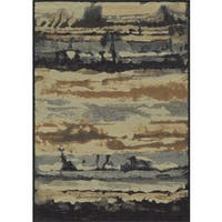 Rizzy Home Blue Bennington Collection Power-Loomed Accent Rug (5' 3 x 7'7) - 5'3 x 7'7