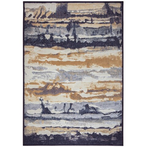 Rizzy Home Blue Bennington Collection Power-Loomed Accent Rug (6'7 x 9'6) - 6'7 x 9'6