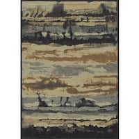 Rizzy Home Blue Bennington Collection Power-Loomed Accent Rug - 6'7 x 9'6