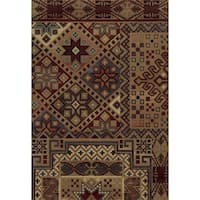 Rizzy Home Red Bennington Collection Power-Loomed Accent Rug (5' 3 x 7'7) - 5'3 x 7'7