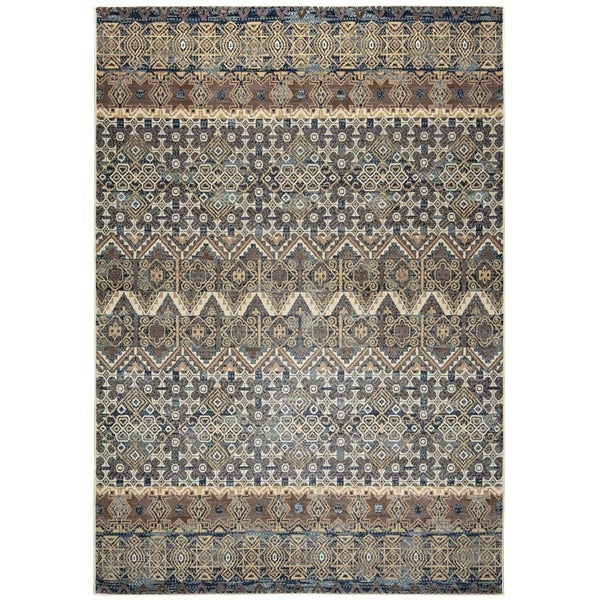 Blue Rizzy Home Bennington Collection Power-Loomed Accent Rug (5' 3 x 7'7)