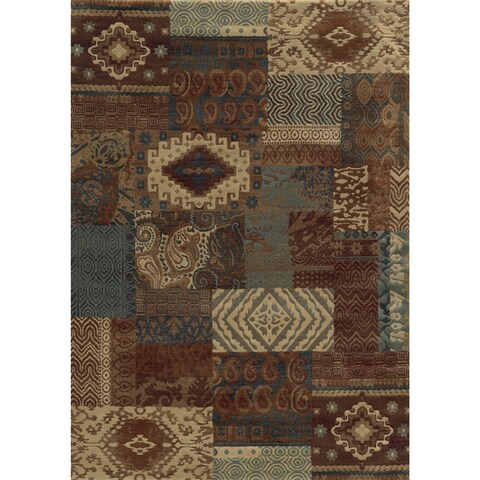 """Rizzy Home Rust Bennington Collection Power-Loomed Accent Rug (7'10 x 10'10) - 7'10"""" x 10'10"""""""