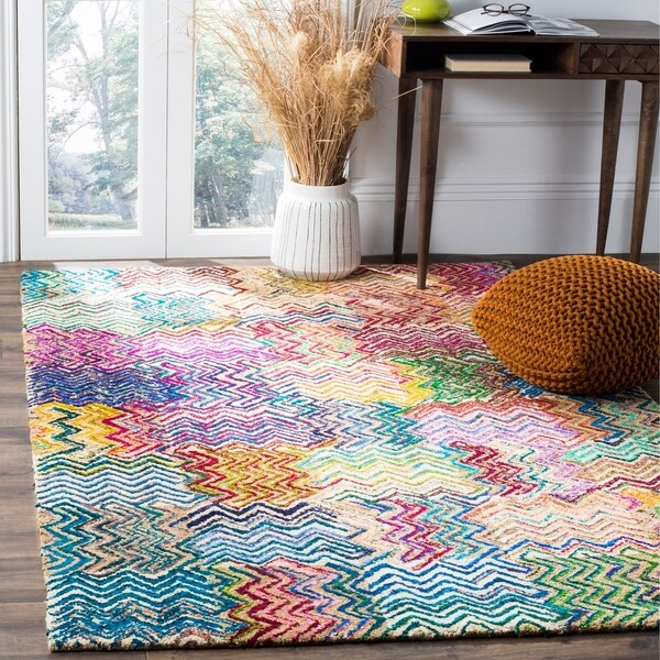 Safavieh Handmade Nantucket Modern Abstract Beige/ Brown Cotton Rug - 8' x 10'