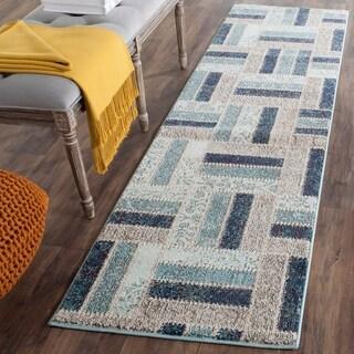 Safavieh Monaco Geometric Grey / Blue Rug (2'2 x 8')