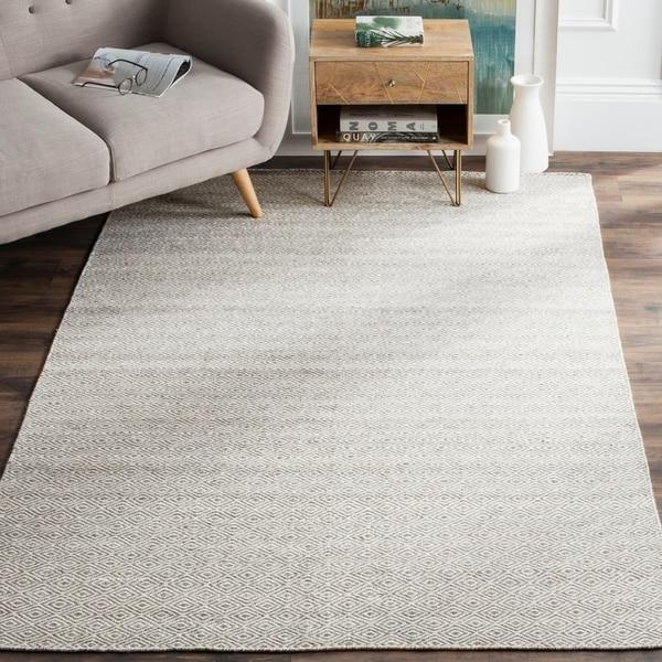 Safavieh Hand-Woven Kilim Ivory/ Graphite Wool Rug - 8' x 10'