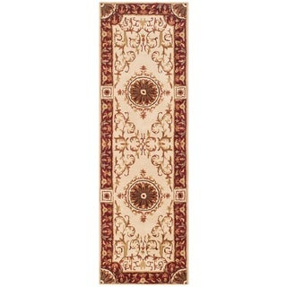 Safavieh Handmade Empire Dani Traditional Oriental Wool Rug (26 x 8 Runner - Ivory/Red)