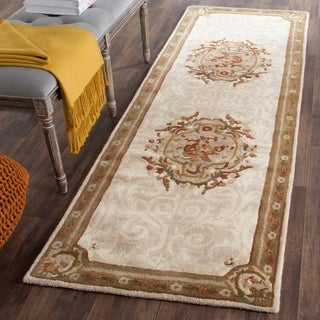 Safavieh Hand-Tufted Empire Ivory/ Light Grey Wool Rug (2'6 x 8')