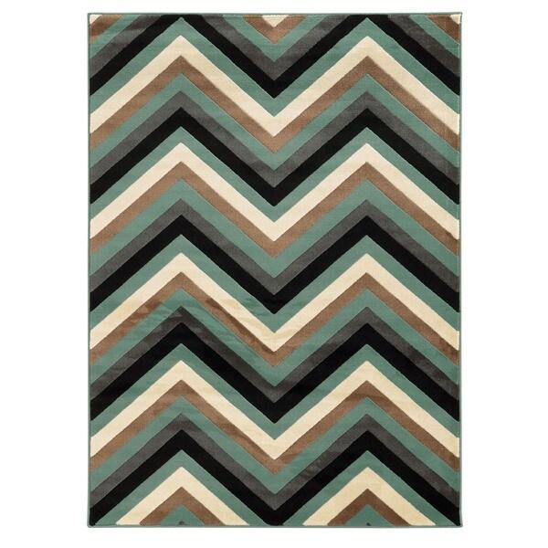 Linon Roma Chevron Turquoise/Grey Rug (5' x 7'6-inch) - 5' x 7'6