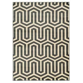 Linon Roma Tangent Charcoal/Grey Rug (5' x 7'6-inch)