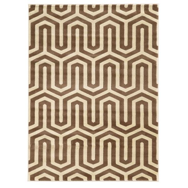 Linon Roma Tangent Ivory/Beige Rug (5' x 7'6-inch)