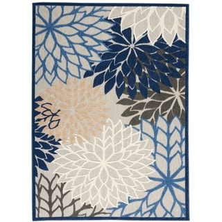 Nourison Aloha Floral Indoor/Outdoor Area Rug (Blue/Grey - 23 x 10 Runner)