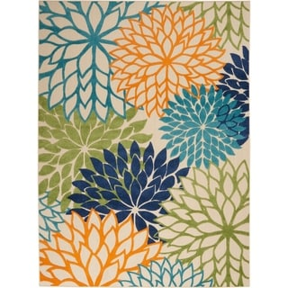 Nourison Aloha Floral Indoor/Outdoor Area Rug (Green/Blue Multi - 2 x 6 Runner)