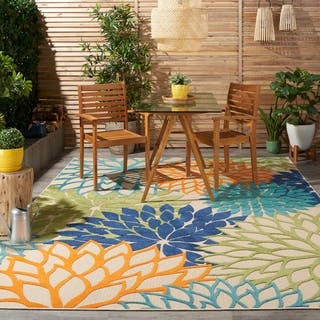nourison aloha floral multicolor indooroutdoor rug 710 - Patio Rugs