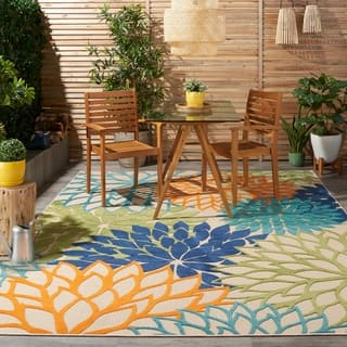 nourison aloha floral multicolor indooroutdoor rug 710 - Outdoor Patio Rugs