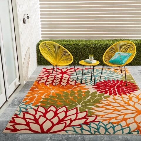 Nourison Aloha Floral Green Indoor/ Outdoor Rug - 7'10 x 10'5
