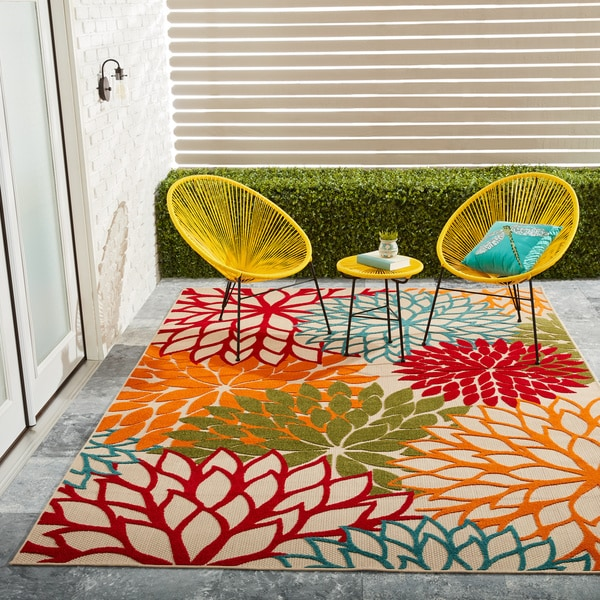 Outdoor Rug 7 X 10: Nourison Aloha Floral Green Indoor/ Outdoor Rug