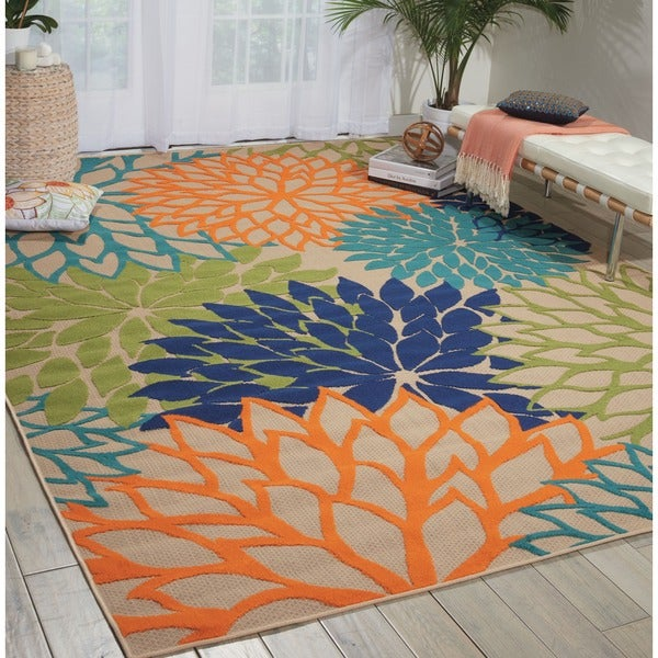nourison aloha indoor/outdoor multicolor rug (5'3 x 7'5) - free