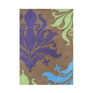 Alliyah Handmade Tobacco New Zealand Blend Wool Rug (5' x 8')