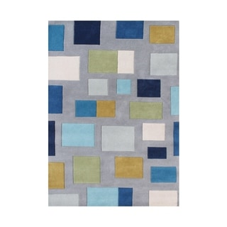 Alliyah Handmade Flint Grey, and Multicolor Squares New Zealand Blend Wool Rug (5' x 8')