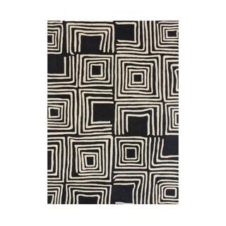 Handmade Alliyah Black New Zealand Blend Wool Rug - 5' x 8'