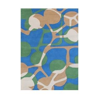 Handmade Alliyah Sea Green New Zealand Blend Wool Rug (5' x 8')
